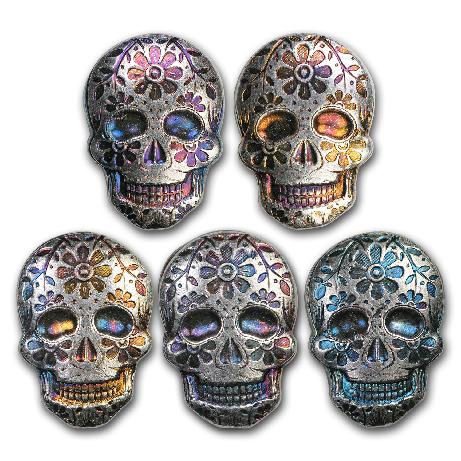 2 oz Silver Skull - Monarch Precious Metals (Day of the Dead)